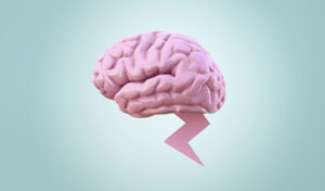 Human brain with lightning rod against a blue spotlight background