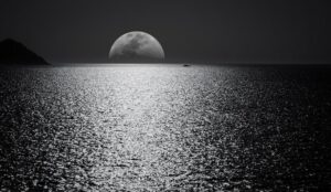 Black and white moon overlooking a body of water